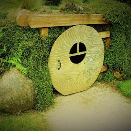 Hobbit House by Lori Pagel - Buildings & Architecture Other Exteriors ( pathway, wood, green, door, rock, house, architecture, window, nature, outdoors, path, hobbit house, rocks, garden, green grass )