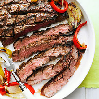 Grilled Flank Steak, Onion, and Peppers