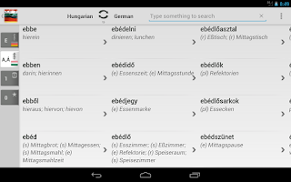 Screenshot of Dictionary Hungarian German