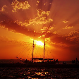 Sunset by Simona Škrilec - Landscapes Sunsets & Sunrises ( see, sunset, summer, boat )