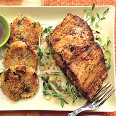 Mahi-Mahi with Lemongrass Slaw and Rice Fritters
