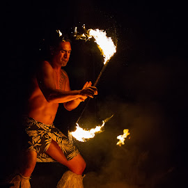 Dancing With Fire by Sam Kynman-Cole - People Musicians & Entertainers ( cook islands, te vara nui, rarotonga, dance, dancer )