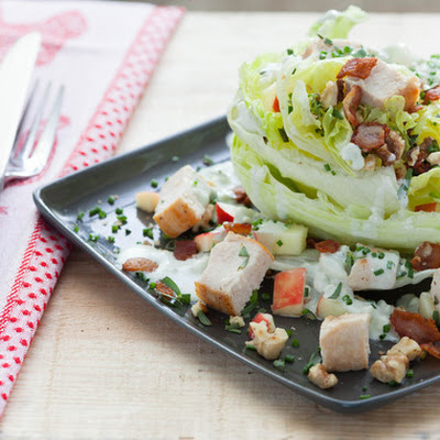 Chicken Wedge Salad with Crisp Apple, Walnuts and Lemon-Blue Cheese Dressing
