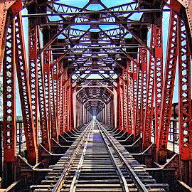 Vanishing by Agha Ahmed - Transportation Railway Tracks ( railroad tracks, railway, railroad, architecture, bridge, tracks, steel )