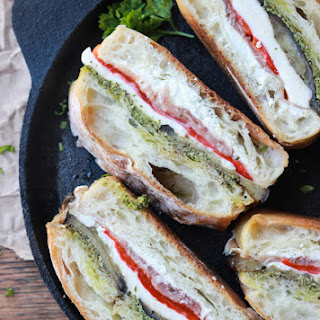 Eggplant, Prosciutto and Pesto Pressed Sandwich