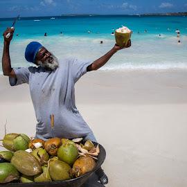 Coconut Karate  by Matt Shell - People Street & Candids ( coconut, st. maarten, beach, knife, man )