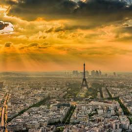 Paris sunset by Sheldon Anderson - City,  Street & Park  Historic Districts ( paris, sun beams, sunset, dramatic, eiffel, cityscape, city,  )