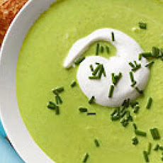 Pea & Edamame Soup with Grilled Cheese Sticks