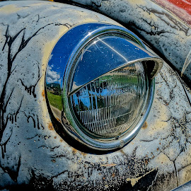 Sleepy Bug by Barbara Brock - Transportation Automobiles ( vw beetle, volkswagen headlight, vw bug, volkswagen )