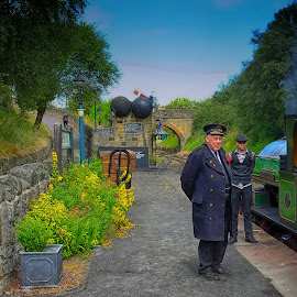 The Old Station by Phil Robson - Transportation Trains ( tanfield railway, railway, railway station, station master, tracks, people )