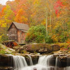 by Jim Arthur - Buildings & Architecture Public & Historical ( fall colors, west virginia, waterfall, gris mill, babcock state park )