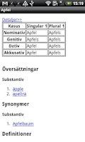 Screenshot of German-Swedish Dictionary