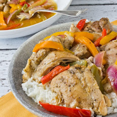 Braised Chicken Thighs with Bell Peppers and Onions