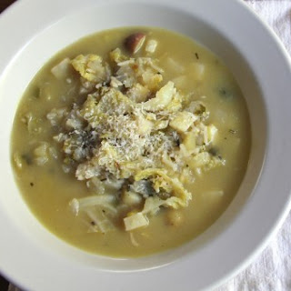 Savoy Cabbage and Celery Root Soup with Leek Confit