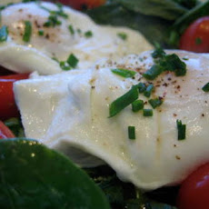 Poached Eggs over Baby Spinach w/ Chives and Cherry Tomatoes