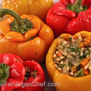 Fat Free Vegan Greek Rice Stuffed Peppers