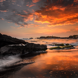 two pieces by Raung Binaia - Landscapes Sunsets & Sunrises ( bali, sunset, cloud, beach, rocks,  )