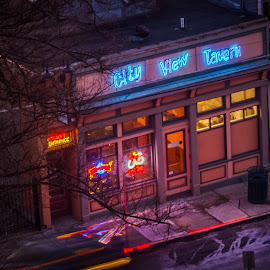 The City View Tavern by Pat Lasley - City,  Street & Park  Street Scenes ( neon, tavern, street scene, bar, nightlife )