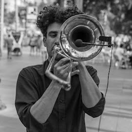 Listen to this! by Liam Coburn Dunne - People Musicians & Entertainers ( music, stree artist, nikon d800, black & white, niukon 24-70, instrument, trombone,  )