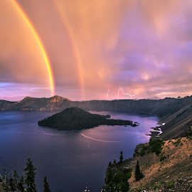 by Jasman Mander - Uncategorized All Uncategorized ( thunder, oregon, pnw, caldera, lake, double, storm, nationalpark, crater, lightning, volcano, central, rainbow )