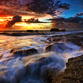 Across the Rocks by Hendri Suhandi - Landscapes Waterscapes ( bali, sunset, beach )