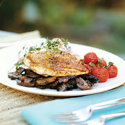 Pan-roasted Chicken on Bacon Mushroom Ragout