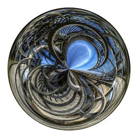 Magic circle bridge by Mike Bing - Digital Art Abstract ( holland, magic circle, bridge, canal, netherlands )