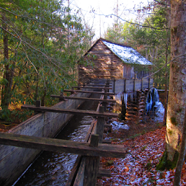 The Mill by Elaine Brixhoff - Buildings & Architecture Public & Historical ( winter, weather, high quality, in focus, cades cove, gsmnp )