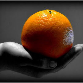 Orange by Arne Løland - Food & Drink Fruits & Vegetables ( selective color, pwc )
