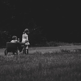 Siblings  by Stephanie Stafford - Babies & Children Children Candids ( black and white, wagon, siblings, babes )