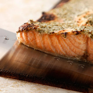 Cedar-Planked Salmon with Herbed Yogurt Sauce