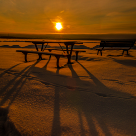 Wabuman City Park by Joseph Law - City,  Street & Park  City Parks ( winter, benches, snow, city park, picnic table, shadows, wabuman )
