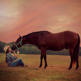 Love horses by Shelby Hale - Animals Horses ( love, kiss, horse, cowgirl, country )