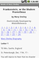 Screenshot of Works of Mary Shelley