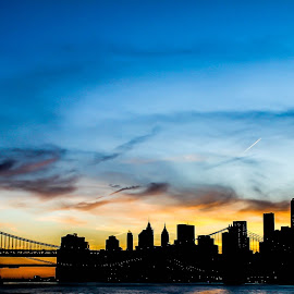 Shooting Star, Moon, Brooklyn Bridge and the Manhattan Skyline by Prerna Tandon Upadhyay - Buildings & Architecture Bridges & Suspended Structures ( Urban, City, Lifestyle )