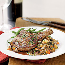 Walnut-Crusted Pork Chops with Autumn Vegetable Wild Rice