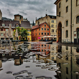 Urban Reflections! by Jesus Giraldo - Buildings & Architecture Homes ( concept, puddles, street, reflections, city )