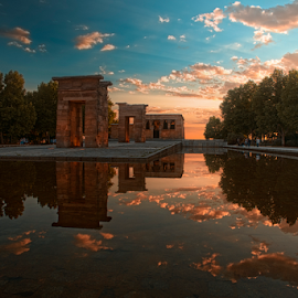 Debod Sunset by Emilio Cabida - City,  Street & Park  City Parks ( temple, debod, madrid, sunset, emerad )