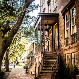 Savannah stairway by Barry Porter - Buildings & Architecture Homes ( savannah, cobbles, old, flag, stairway, street, historic )