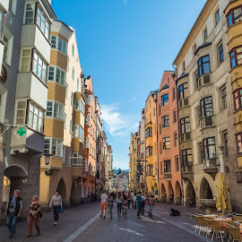 Old Town Innsbruck by Stephen Bridger - City,  Street & Park  Historic Districts ( colourful, europe, innsbruck, old town, architecture, travel, travel photography, austria, street photography )