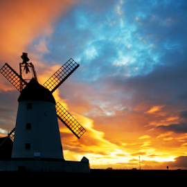 Fire sky by Ian Clamp - Landscapes Sunsets & Sunrises ( clouds, st.annes, orange, fiery, red, ltham, silhouette, sunset, blackpool, fylde, windmill )