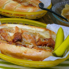 Slow Cooker-Braised Chicken, Onion and Cheese Sandwiches