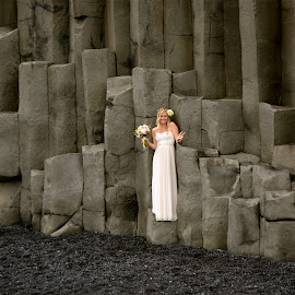 Bride on Basalt Formations by Tyrell Heaton - Wedding Bride ( iceland, basalt formations, bride )