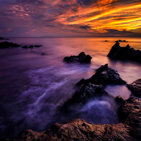 Arasaki on Fire by Nyoman Sundra - Landscapes Sunsets & Sunrises ( arasaki, japan, sunset, kanagawa, landscape )