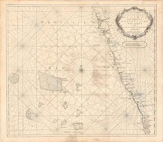 Johannes van KEULEN II (1704-1755). [Konkan, Kanara and Malabar Coasts].  Pas Caart van een Gedeette van de Kusten van Cuncancanara en Malibar met het Noortlykste van de Maldivische Eylanden in de Oostindischezee.  Amsterdam, 1753.  Copper engraving, 62.9 x 54 cm.  A highly detailed sea chart depicting the Malabar and Konkan Coasts, from the 'Secret Atlas' of the Dutch East India Company.  The present sea chart covers the Malabar and Konkan Coasts, which since the mid-17th Century, were among the primary theatres of operation for the Dutch East India Company (VOC) in India. Up to this point, the VOC produced master charts of Asian waters that generally remained in manuscript form so that their dissemination could be carefully controlled, such that valuable intelligence would not fall into the hands of rival powers.    However, by the mid-18th Century, it was decided that these charts would be printed by a trusted mapmaker in limited quantities, with their dissemination carefully controlled. The present chart is from the resulting 'Secret Atlas' of the VOC, issued in Amsterdam by Johannes van Keulen II, which was privileged for the use of the Company's captains.  The style of the chart reflects the best practices of Dutch maritime cartography, which from the early 17th Century rose to dominate the genre. All major ports are identified and some are marked by the flags of the nations or companies that controlled the trade flowing through them.