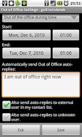 Screenshot of Out of Office Assistant