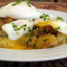 Poached Eggs with Stuffing Patties