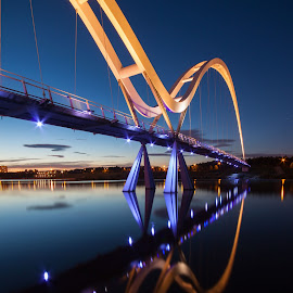 Infinity Bridge by Chris Rayner - Buildings & Architecture Bridges & Suspended Structures ( infinity bridge stockton on tees reflections blue architecture sunset )