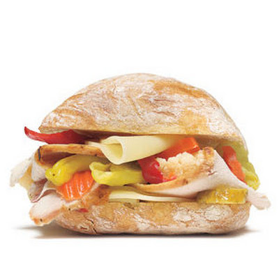 Turkey Sandwich With Provolone and Pickled Vegetables