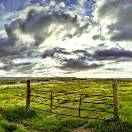 Sunset Fields by Spencer Selover - Landscapes Prairies, Meadows & Fields ( clouds, hills, sky, hdr, blue, spencer selover )